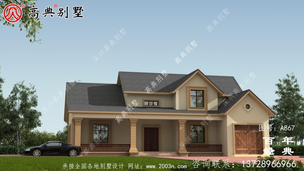 一层别墅的设计图包括效果图和农村自建阁楼的