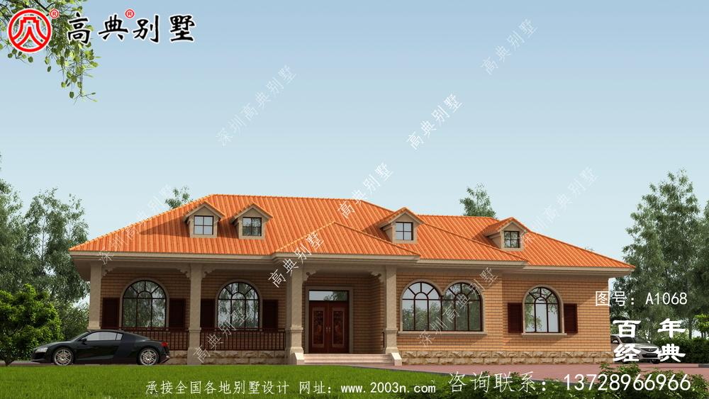 一栋实用的农村一层别墅设计效果图,占地243平