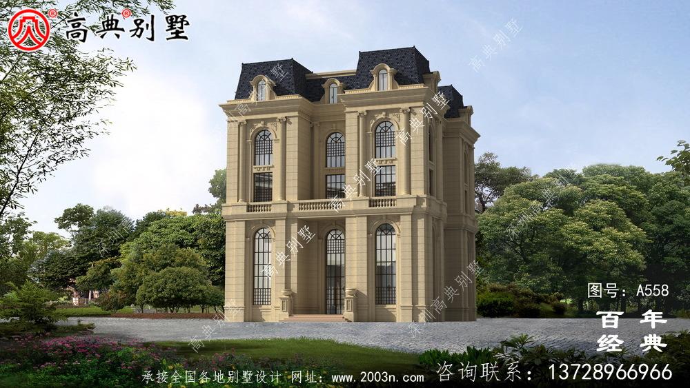 农村五楼法式别墅设计图纸及效果图,整体风格细节精致