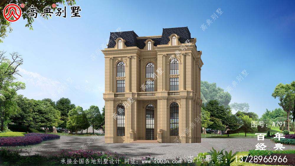 五层法式别墅设计图纸,客厅中空复式,豪华大气