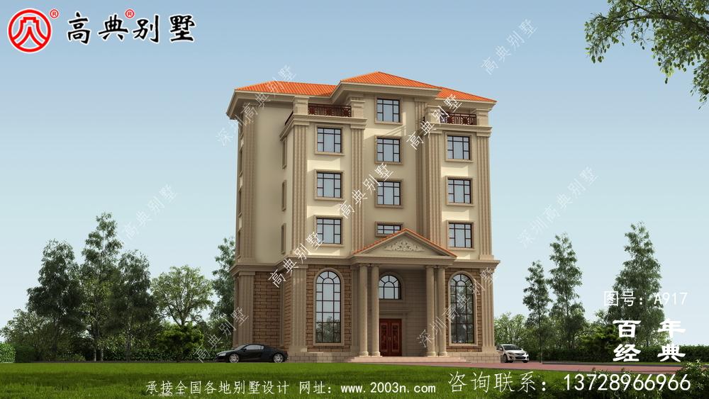 面积208平方米的经典五层别墅设计图,包括效果图。