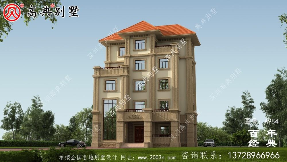 简单实用的五层农村自建住宅设计,面积159平方米。