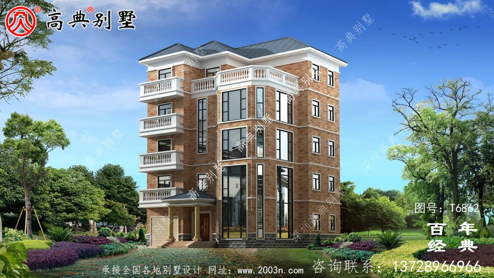 农村五层建筑设计,占地743平方米,欧式高端大气