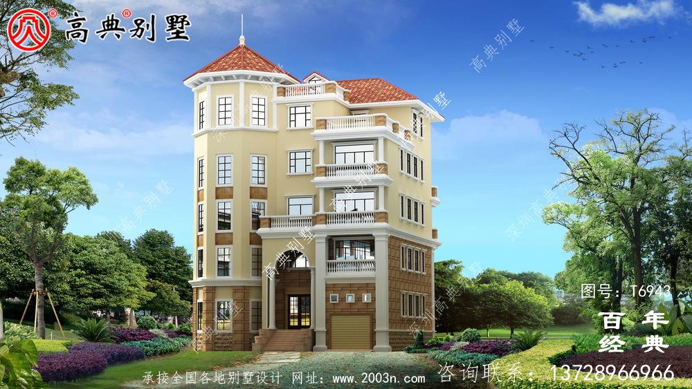 欧式五层别墅设计图纸及设计效果图,多个飘窗配阳台