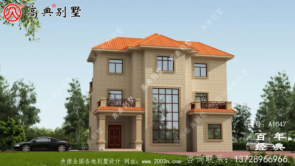 村三层别墅设计图纸,带新型建筑材料(含设计效果图)
