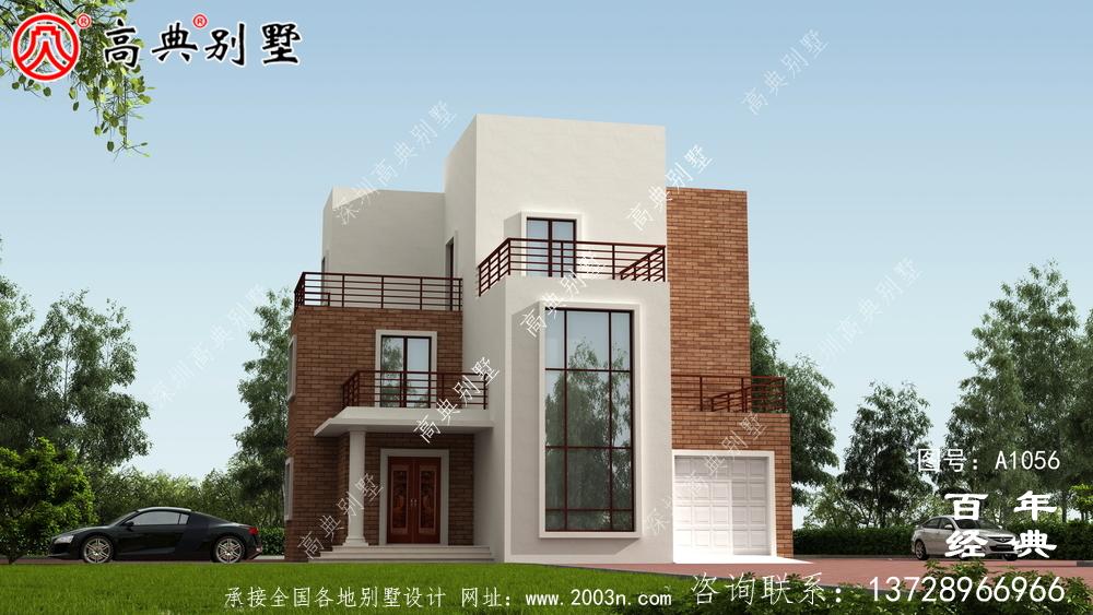 158平方米农村自建现代三层别墅设计施工图纸