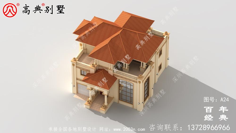 美丽的三层带车库实用别墅施工图与效果图_三层别墅设计图