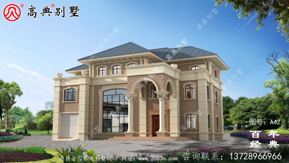 带露台设计图纸和效果图的新型欧式三层别墅  农村三层别墅设计
