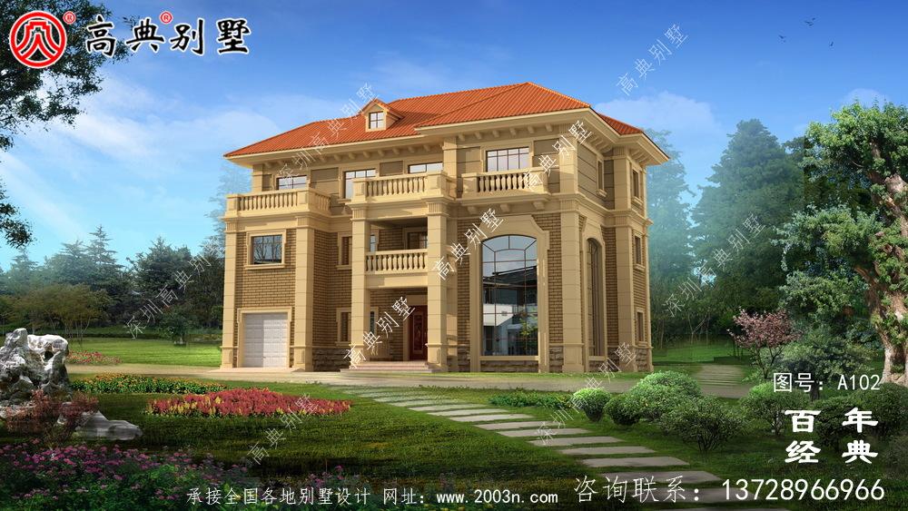 欧式古典三层带阳台车库别墅设计图纸_三层别墅图纸