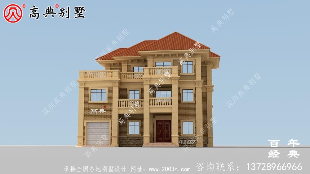 三层带阳台房自建房设计图纸_乡村房屋设计图纸