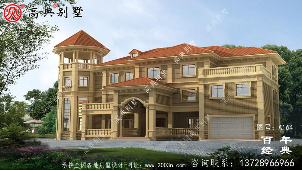 乡村三层带生活阳台小别墅设计图纸_农村房屋设计图