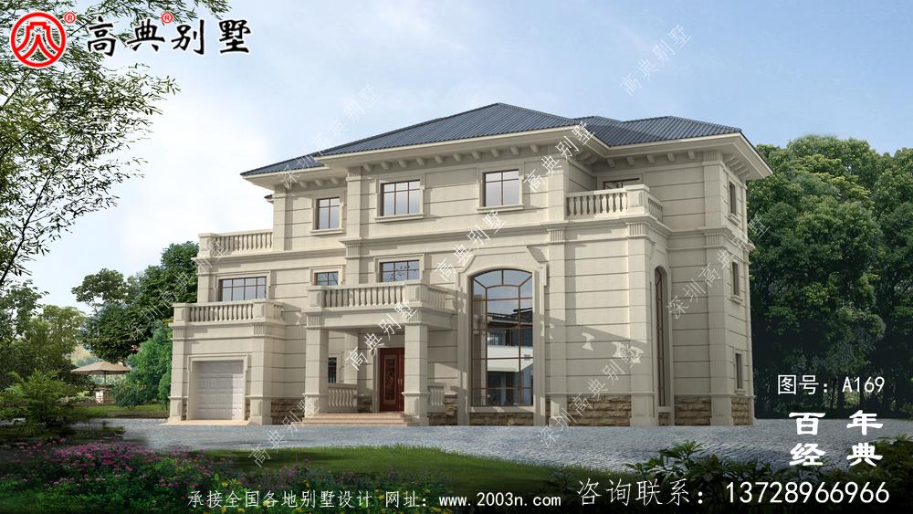 漂亮的三层带车库欧式别墅施工图及效果图_别墅设计图纸