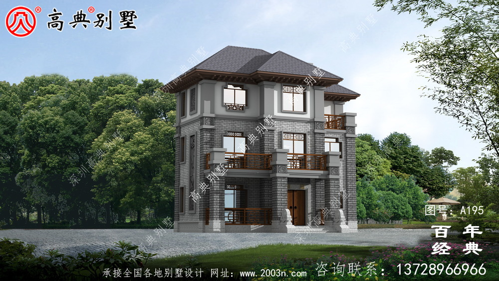 大气三层带露台的中式别墅设计图及效果图 别墅效果图