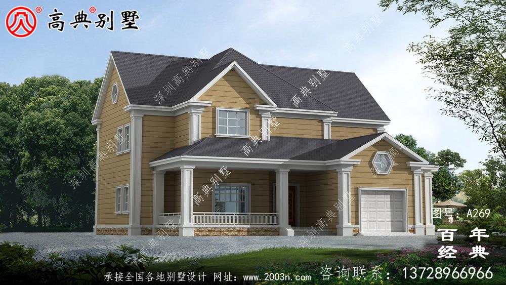 漂亮的两层带车库农村小别墅设计图纸_农村房屋设计