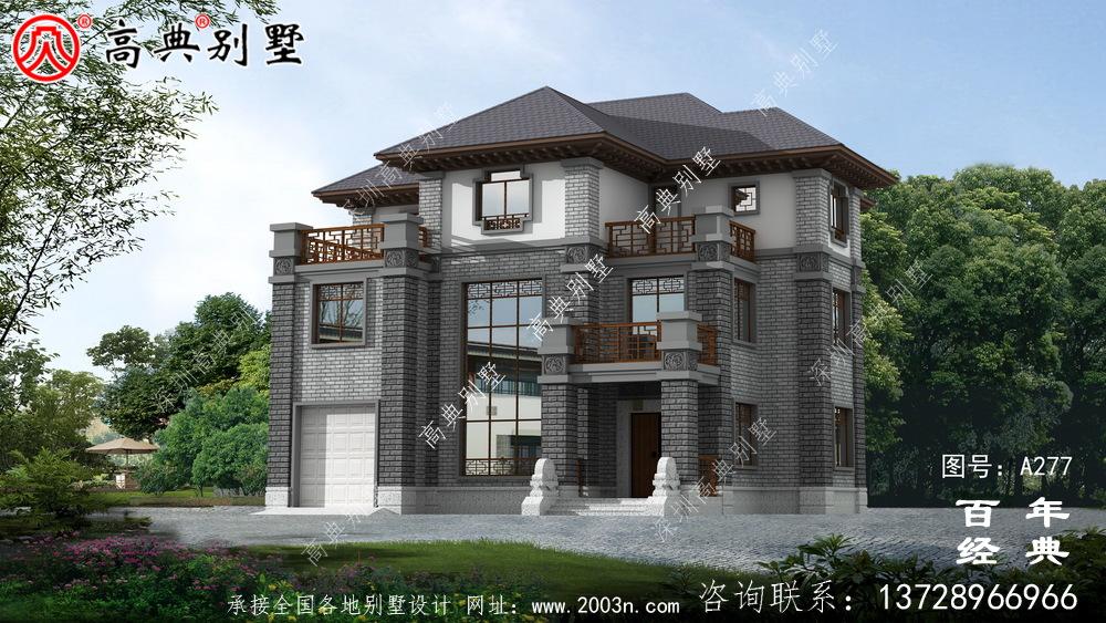 三层带阳台车库新农村建设建造小别墅设计图_乡村自建房设计图