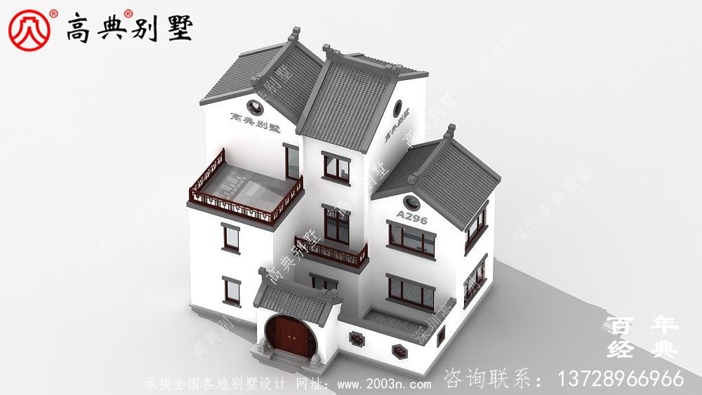 新农村建设三层带阳台自建别墅工程图纸_别墅设计图纸,三层带阳台独栋别墅
