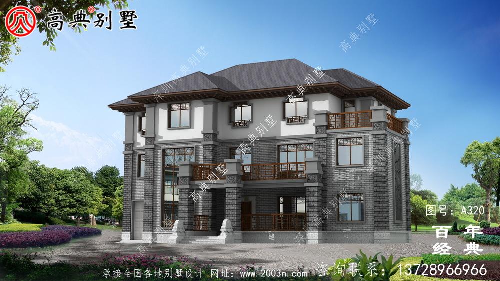三层带阳台车库大面积别墅设计全套图纸_别墅设计图纸,农村房屋设计图