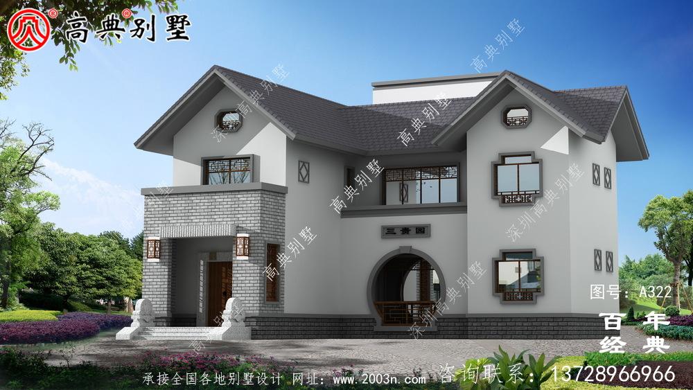 乡村两层带阳台自建房效果图及施工图纸_农村房屋设计图