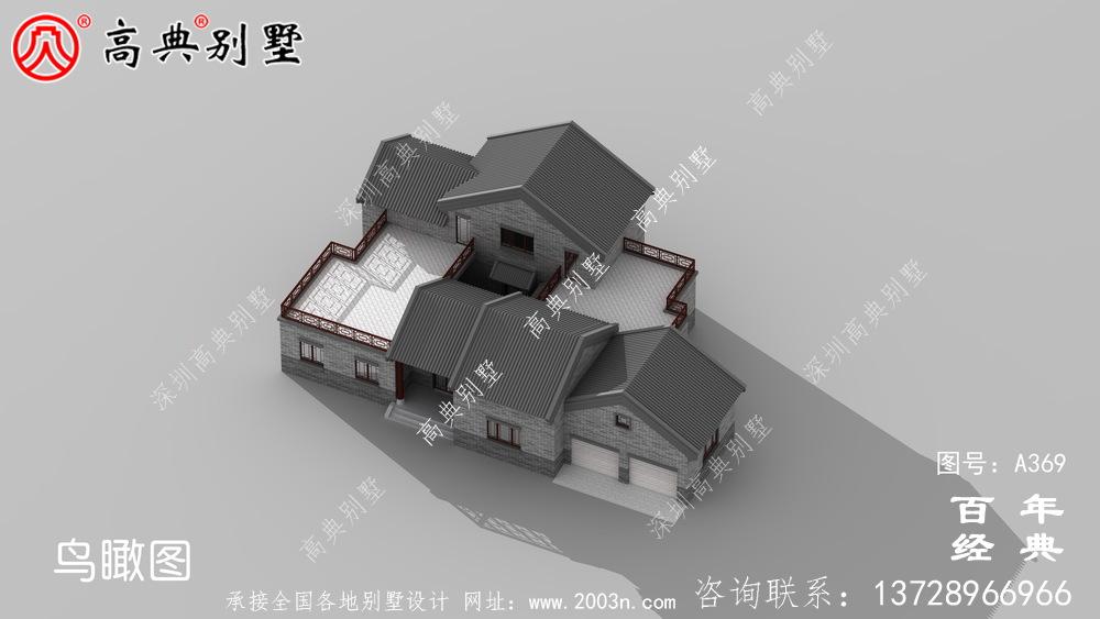 单层带露台双车库别墅设计全套图纸效果图_别墅设计图纸,农村房屋设计图