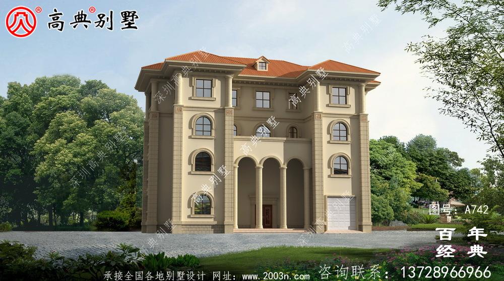 四层豪华欧式别墅外观效果图及施工图_四层别墅设计图纸