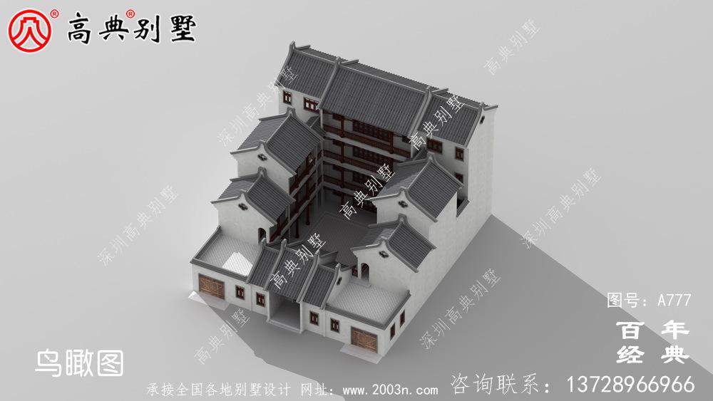 中式仿古豪华四层别墅外观设计图纸_农村四层别墅设计效果图