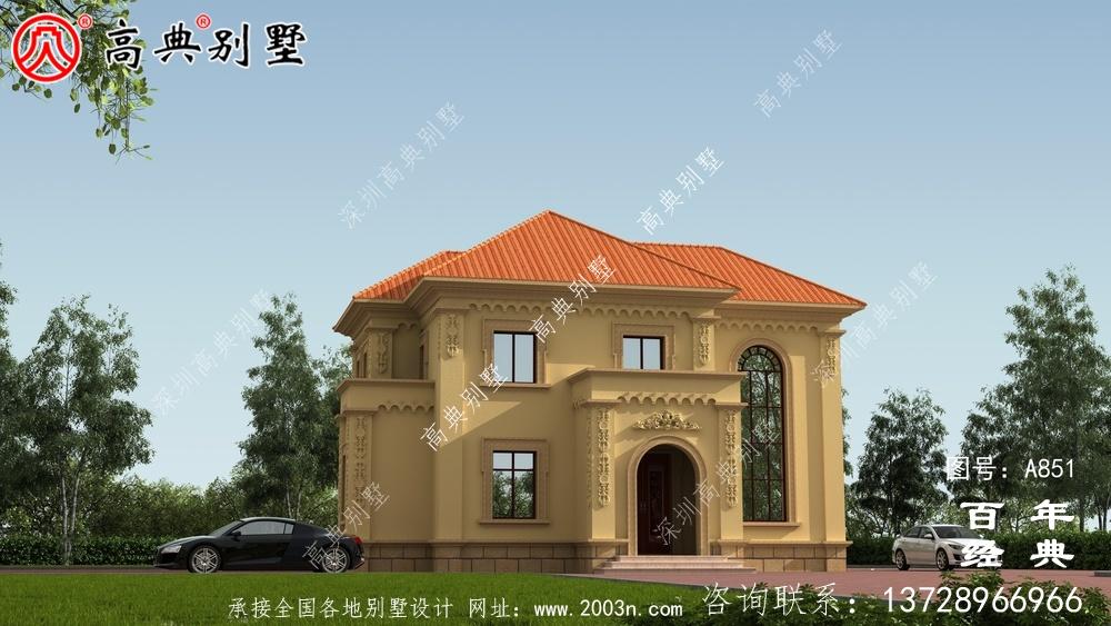 欧式二层经济实用小别墅设计图纸_乡村双层建造房屋设计图
