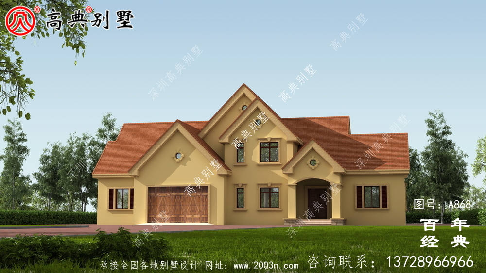 农村两层带车库别墅设计方案施工图纸及设计效果图_乡村两层设计工程图纸