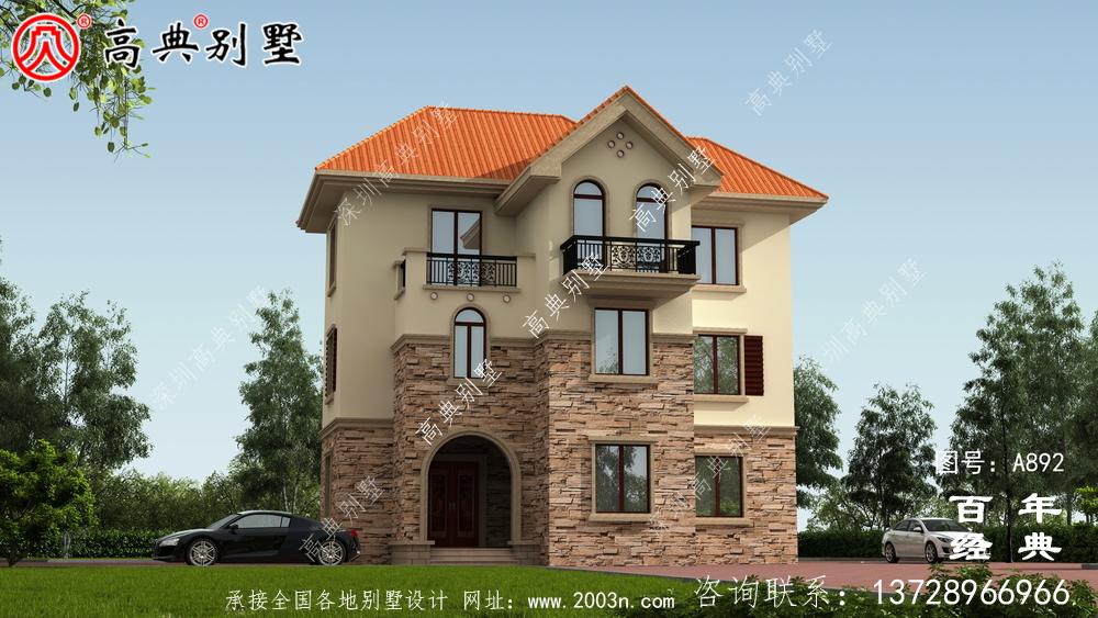 欧式三层别墅带阳台设计图纸和效果图_欧式三层别墅图纸