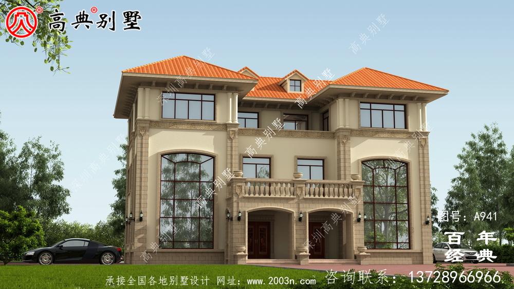 欧式三层复式双拼别墅设计效果图及施工图纸_欧式三层别墅图纸