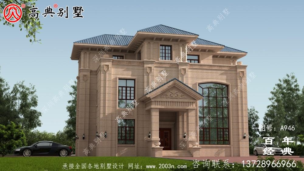 欧式三层带阳台别墅设计图纸及设计效果图_乡村三层别墅施工图设计
