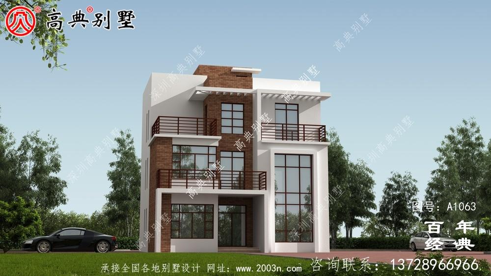 复式三层车库现代风格别墅外观效果图与施工图设计_三层别墅设计图