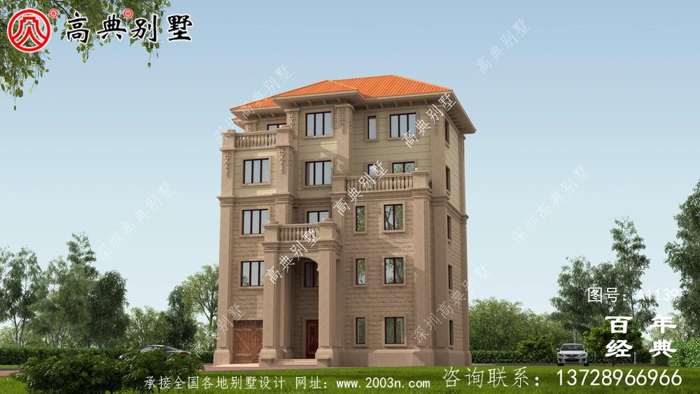气派复式五层欧式别墅外观设计效果图_乡村五层别墅设计图纸