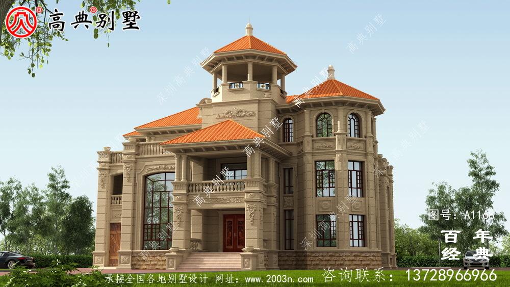 超豪华复式三层欧式别墅外观设计效果图_乡村三层别墅设计图纸