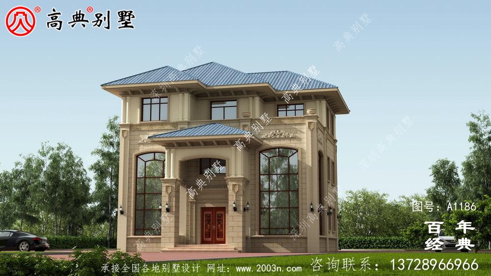 复式精致三层欧式别墅外观效果图与施工图设计_农村三层别墅设计图
