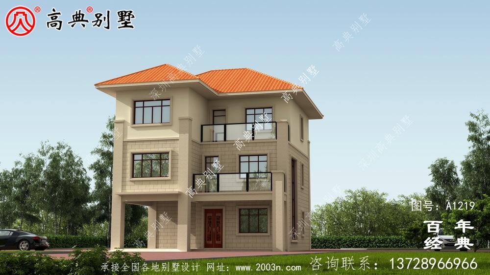 简约型三层欧式别墅外观效果图与施工图设计_农村三层别墅设计图
