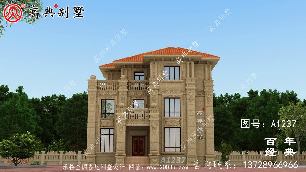 高大欧式三层别墅设计工程图纸_农村三层别墅设计图