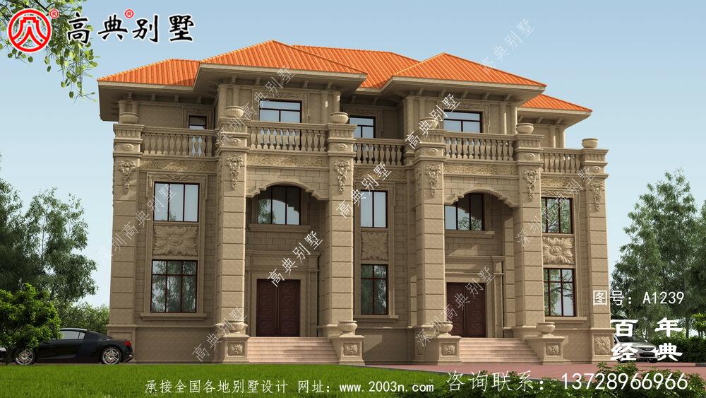 奢华欧式三层双拼大别墅外观效果图及施工图设计_农村三层别墅设计图