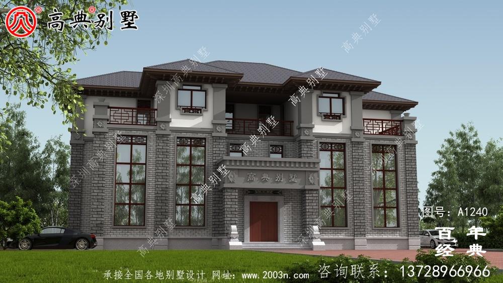 新中式三层双拼别墅设计工程图纸及设计效果图_别墅设计图纸