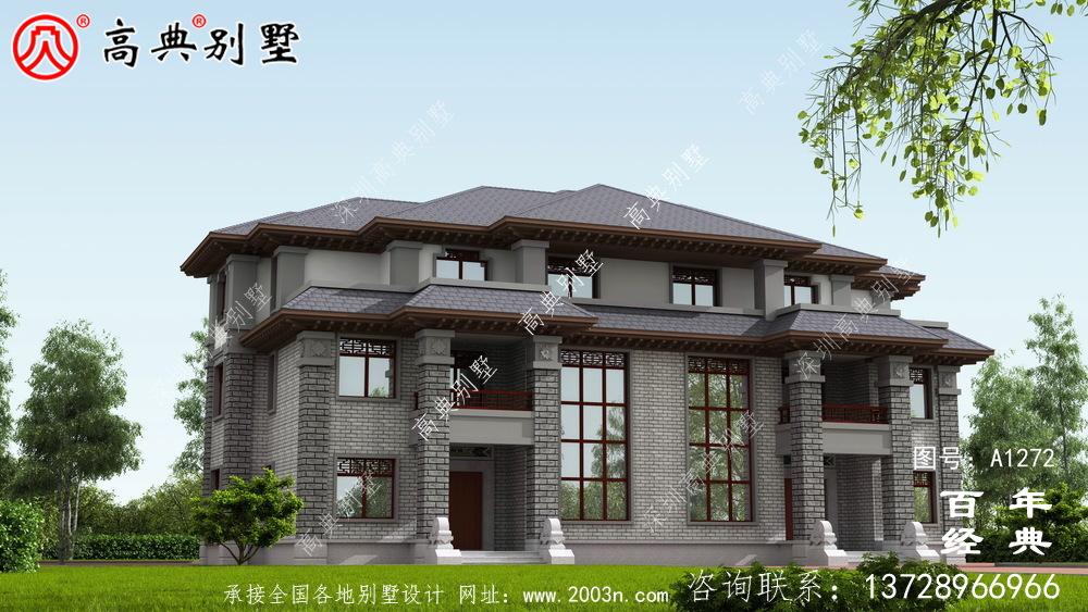 新中式高大复式三层双拼别墅效果图及施工图__三层别墅图纸
