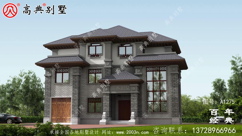 新中式三层复式农村别墅效果图及施工图__农村三层别墅图纸