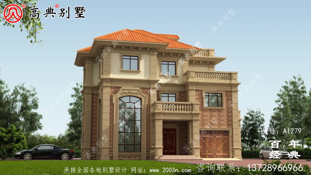 欧式复式三层别墅外观设计图纸_新农村别墅户型图设计