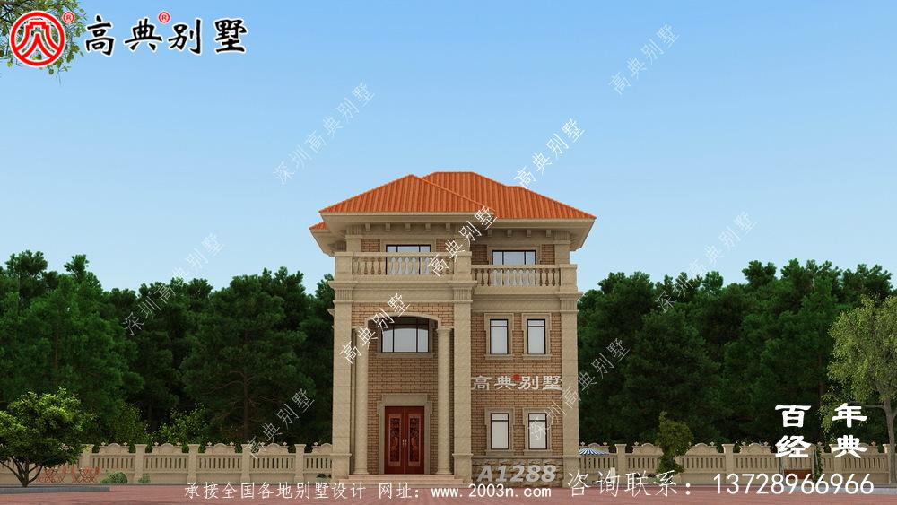 欧式三层小别墅外观设计效果图_农村三层别墅图纸