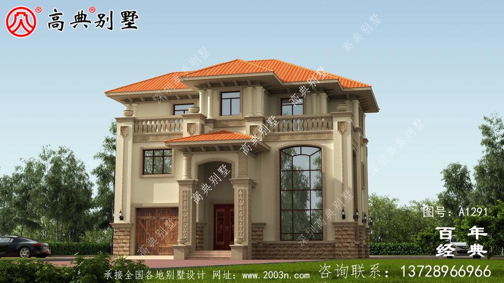 新农村三层复式别墅外观效果图及施工图设计_农村三层别墅设计图