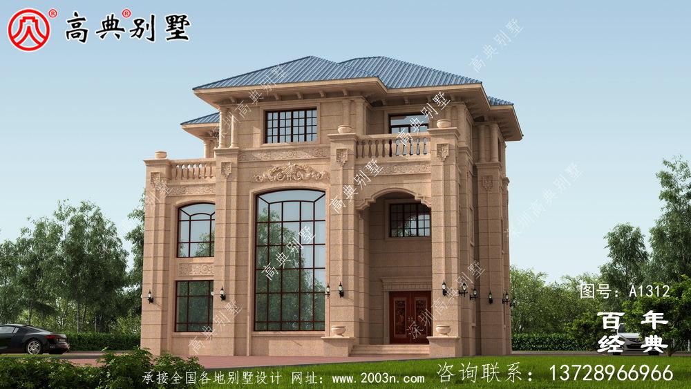 欧式三层复式豪华别墅设计图纸及效果图_农村三层别墅图纸
