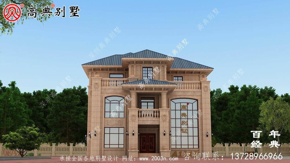 低调奢华三层复式农村别墅设计图纸及效果图_农村三层别墅图纸