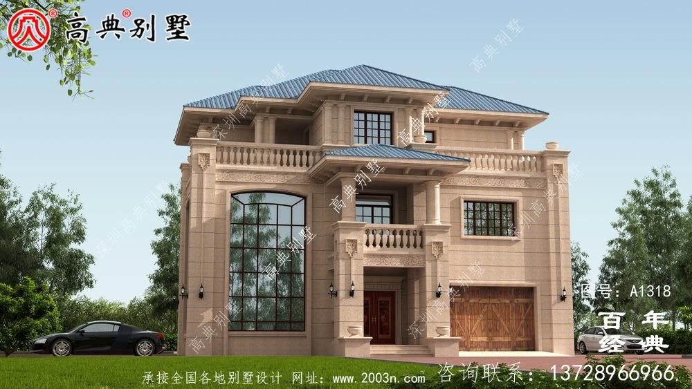 欧式三层带露台复式别墅设计图纸及效果图_农村三层别墅图纸