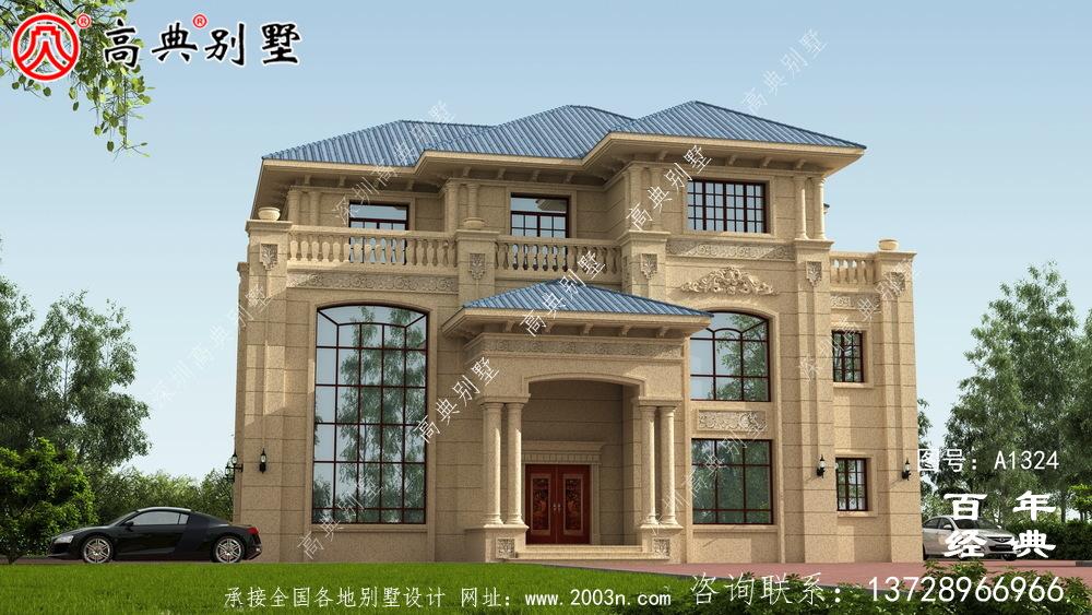 欧式复式三层别墅外观设计图纸_乡村三层别墅设计图
