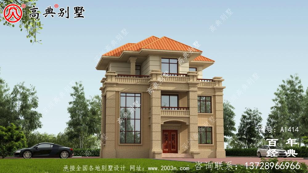 乡村复式三层欧式别墅设计图_乡村别墅工程图纸