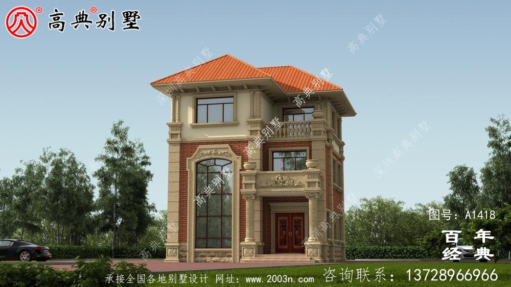 复式三层欧式小别墅外观效果图_农村三层别墅设计