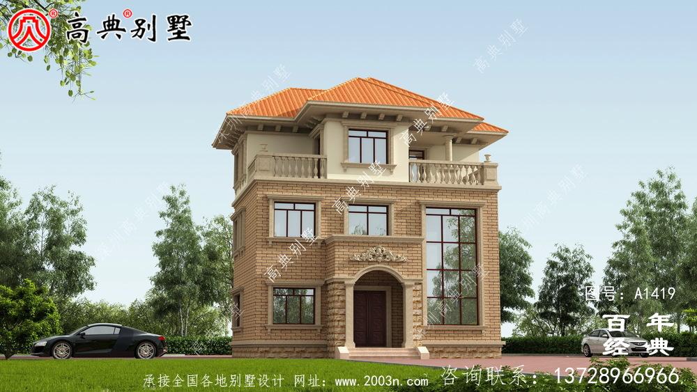 农村自建欧式小别墅三层外观图_农村三层别墅设计